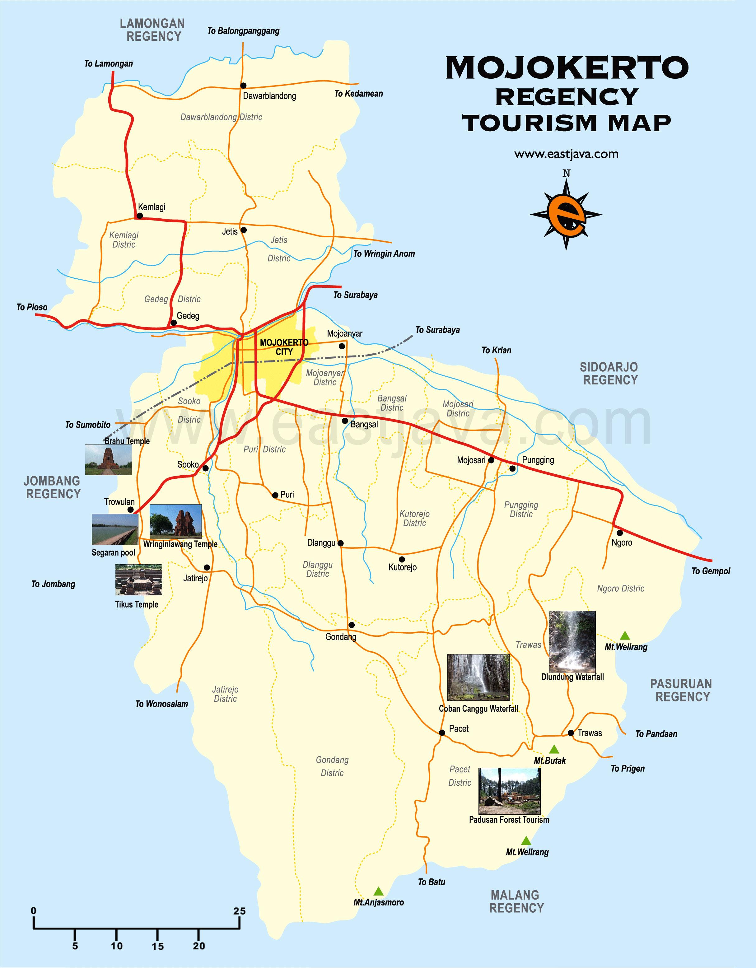 Mojokerto Map Peta Kabupaten Google Candi Jolotundo Kab