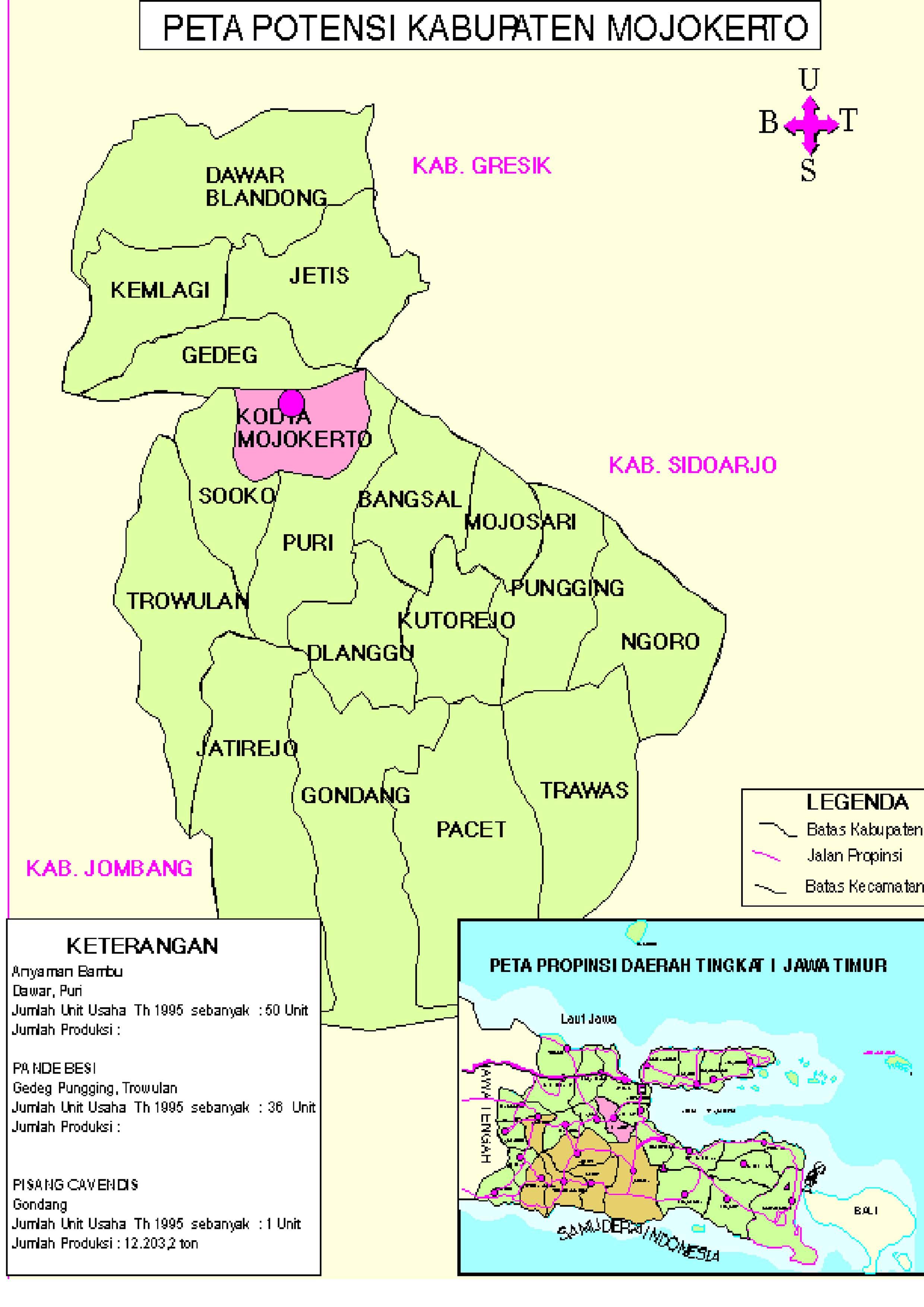 Profil Kabupaten Telecenter Kencono Wungu Peta Wilayah Mojokerto Tempat Candi