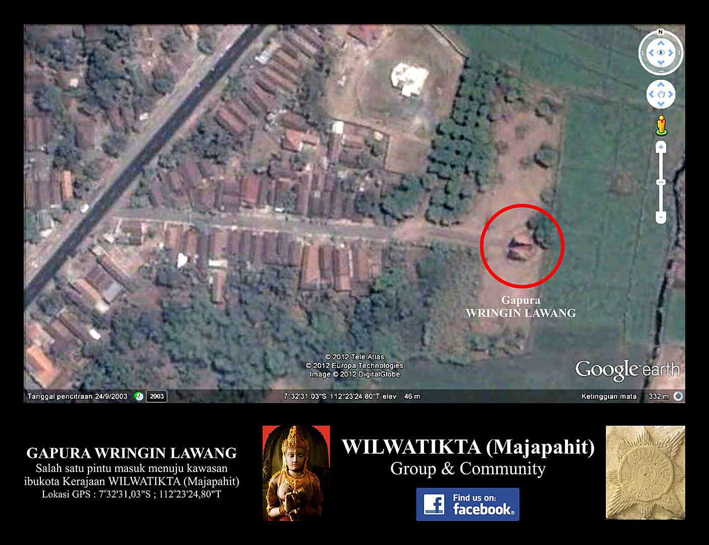 Gapura Wringin Lawang Lokasi Koordinat Gps Wilwatikta Candi Kab Mojokerto