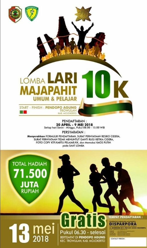 Lomba Lari Majapahit 10k 2018 Lariku Info Pendopo Agung Trowulan