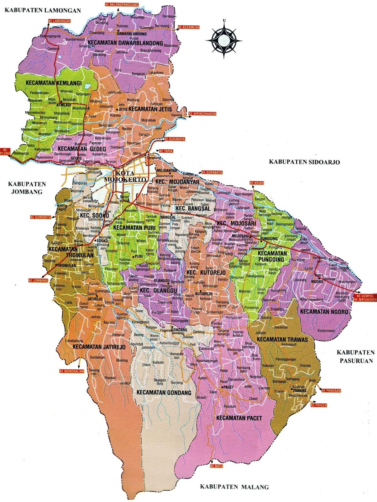 Peta Kota Kabupaten Mojokerto Memiliki Sejumlah Objek Wisata Menarik Mulai