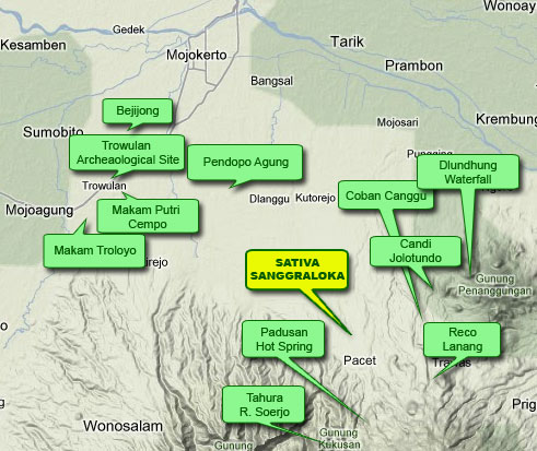 Tempat Wisata Disekitar Daerah Trowulan 2015 Map Sativa Sanggraloka Surroundings