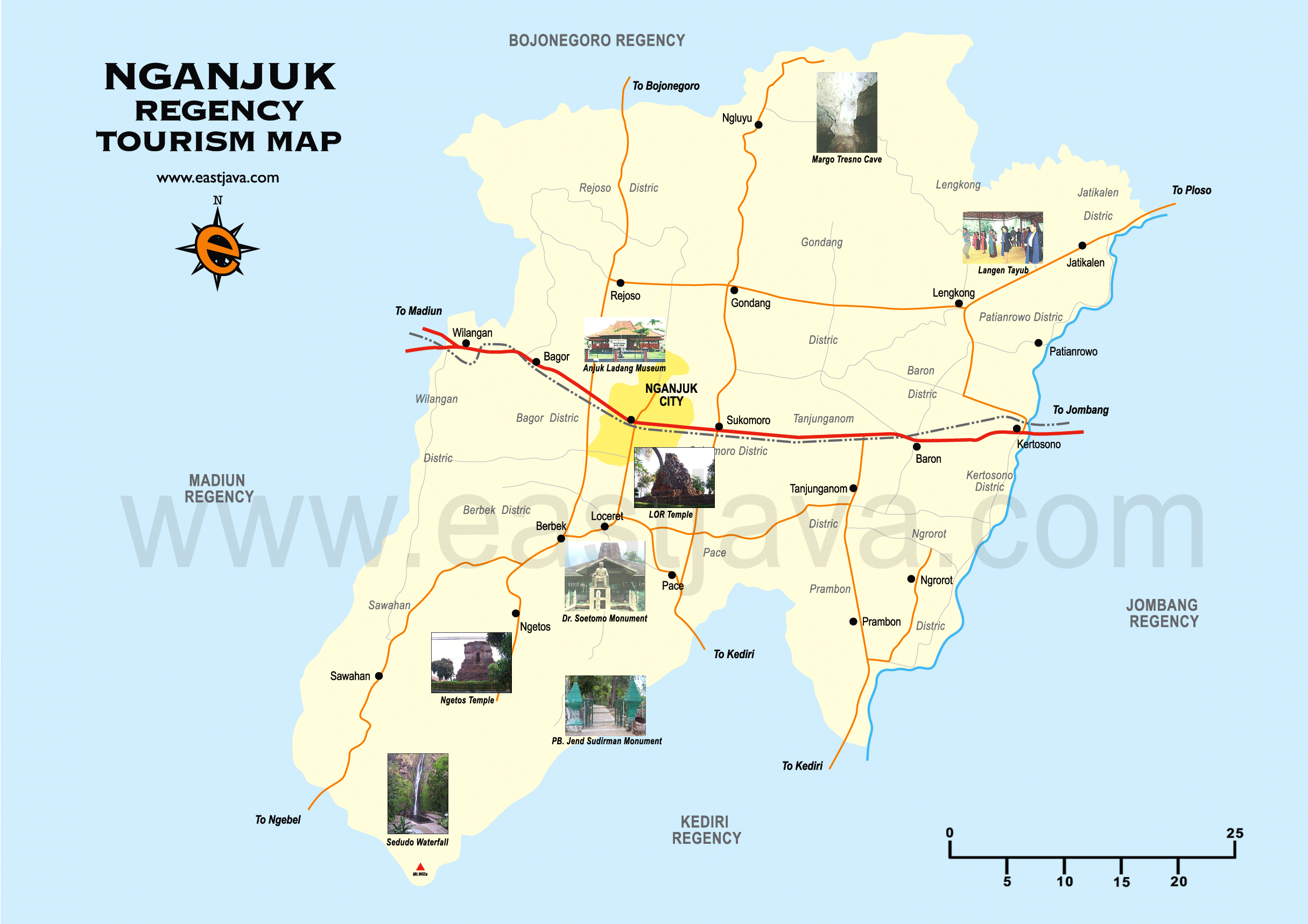 Nganjuk Map Peta Tourism Google Taman Air Legend Kab