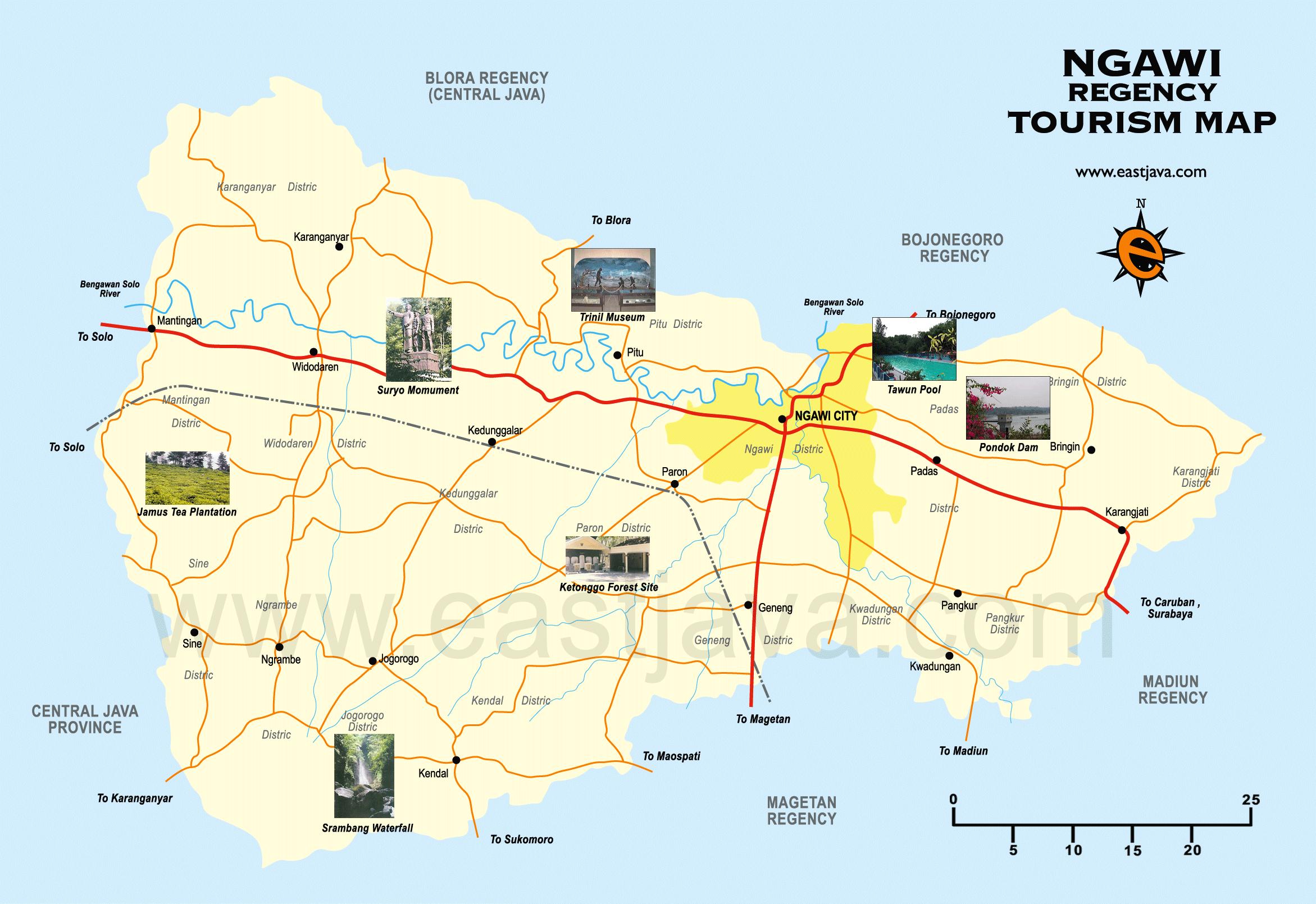 Ngawi Map Peta Kabupaten Google Musium Trinil Kab