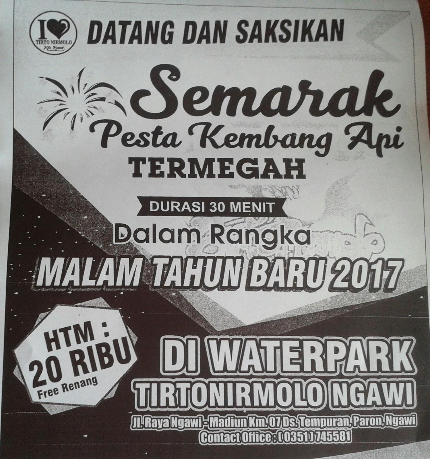 Taman Wisata Tirto Nirmolo Ngawi Desember 2016 Tirtonirmolo Semarak Pesta