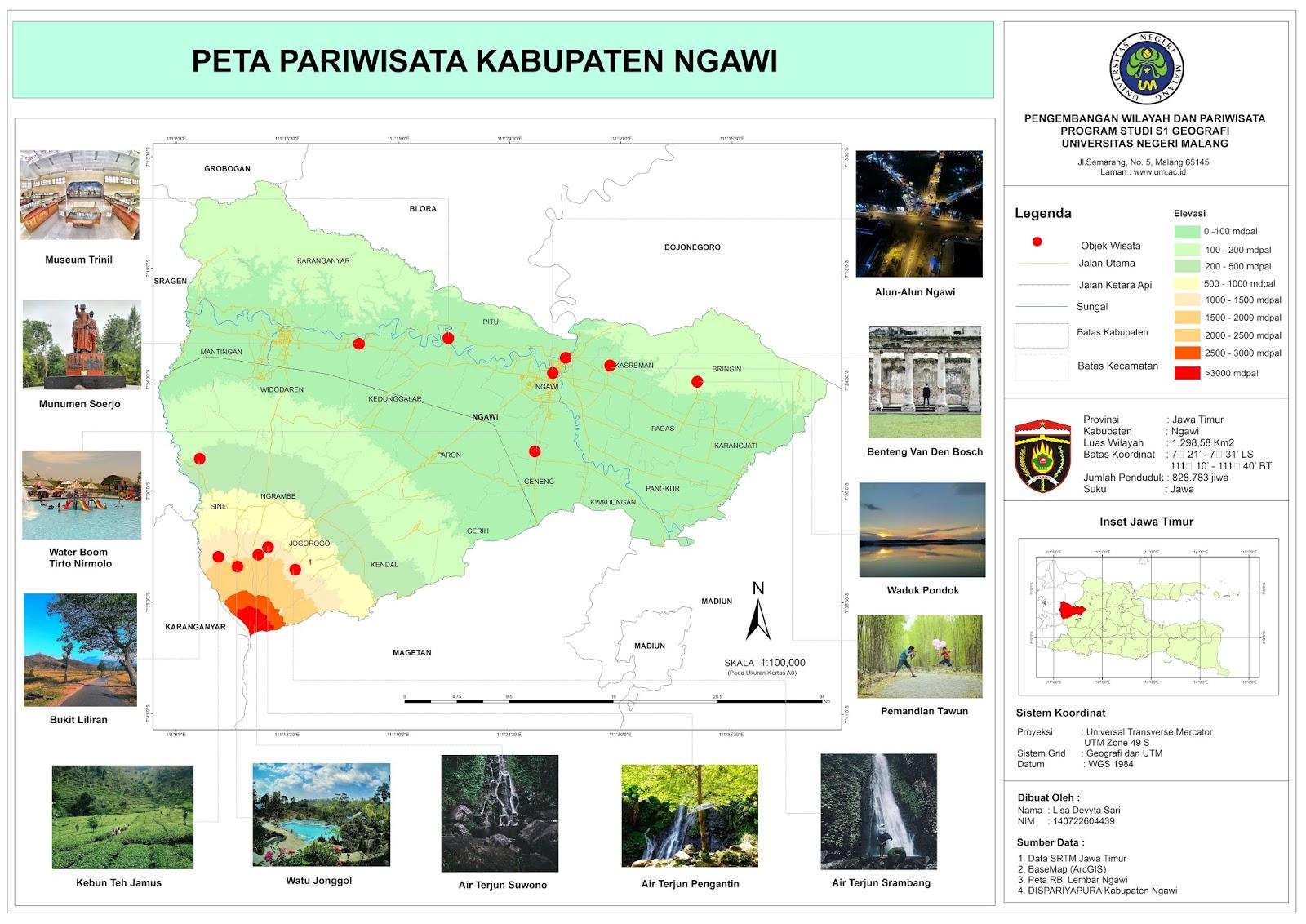 Tourism Information 2017 Ngawi Map Taman Air Tirtonirmolo Kab