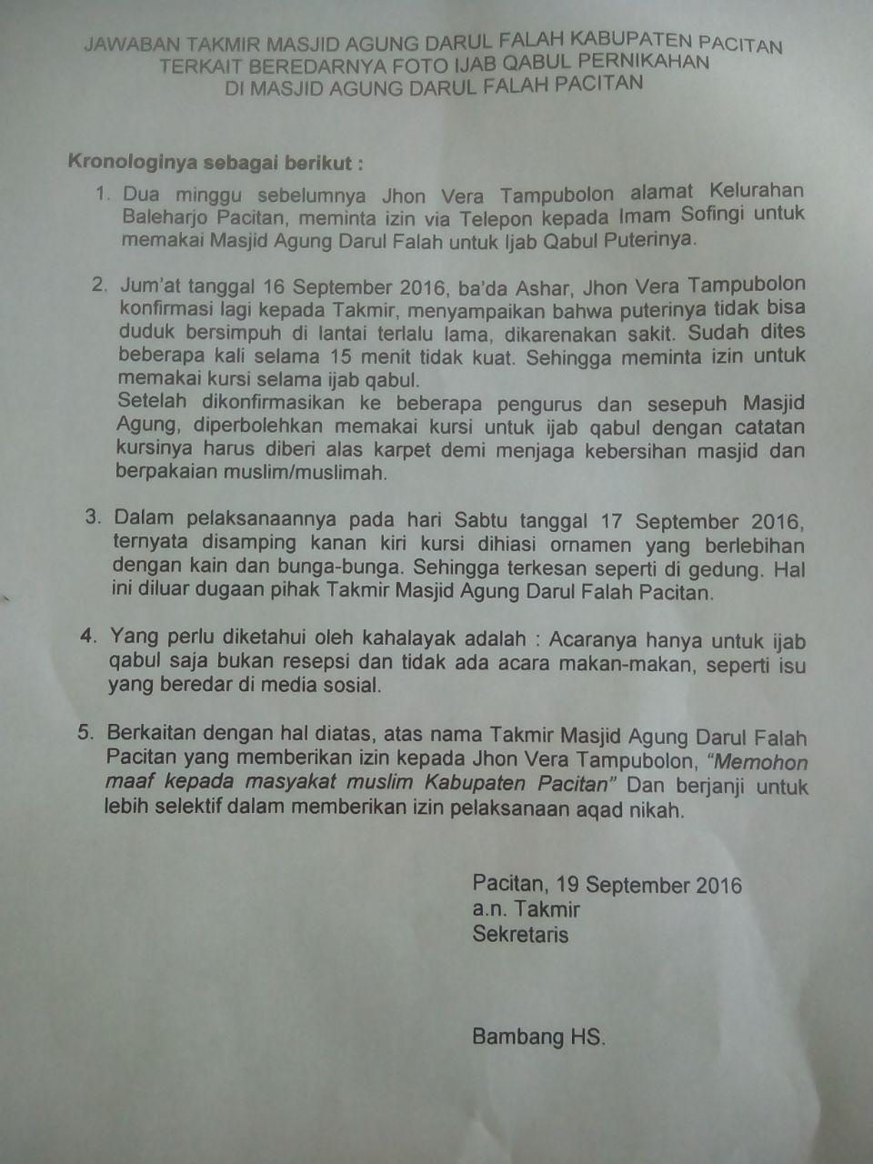 Takmir Masjid Agung Pacitan Minta Maaf Pacitanku Surat Kab