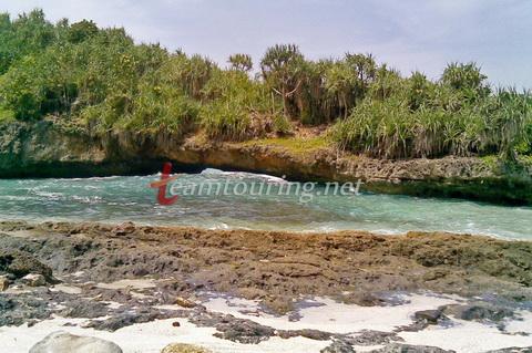 Pantai Srau Pacitan Alami Menyimpan Batu Karang Berlubang Tepi Kab