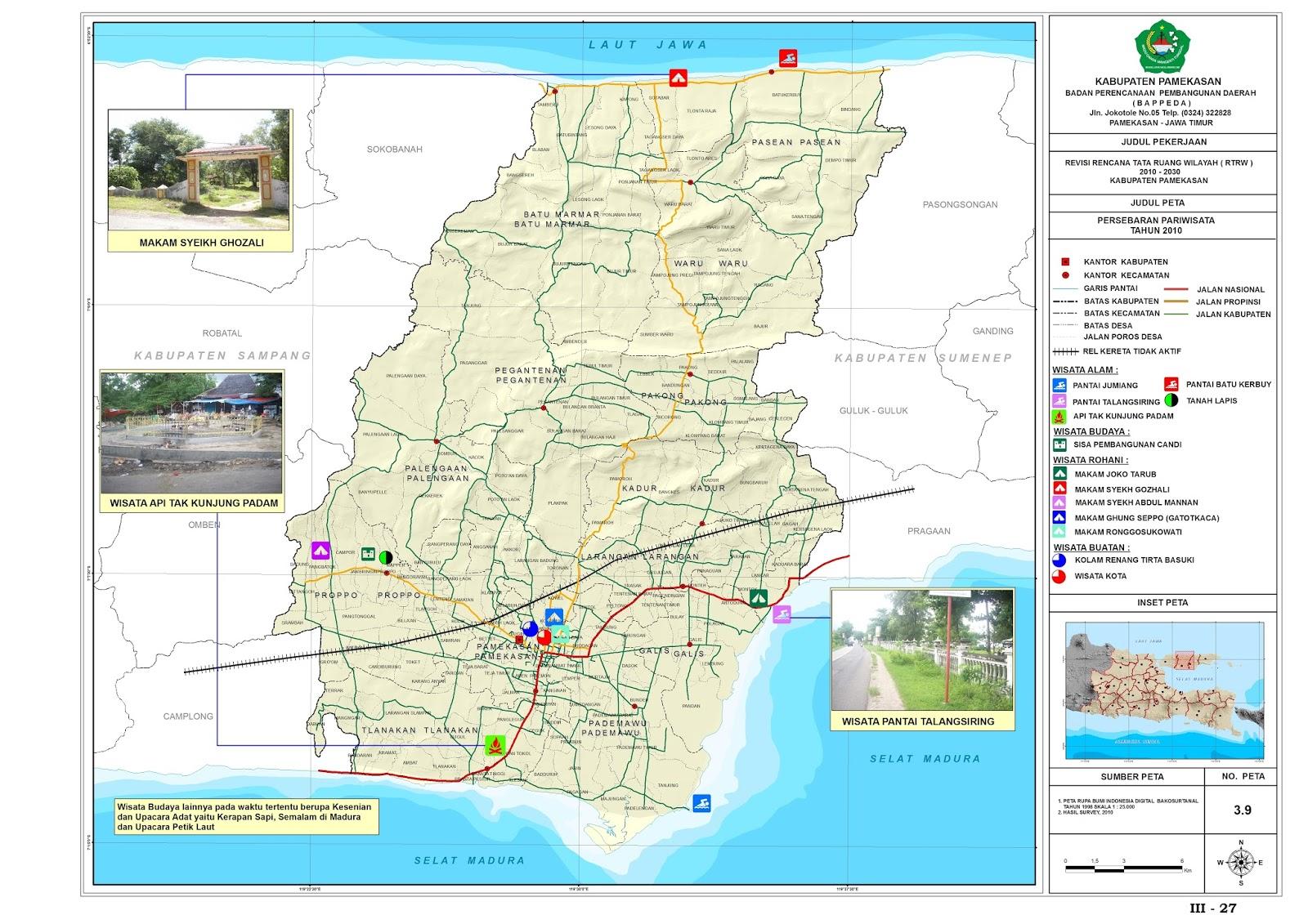 Peta Kota Kabupaten Pamekasan Wisata Kab