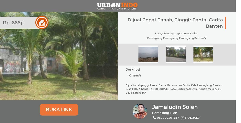 Dijual Cepat Tanah Pinggir Pantai Carita Banten Kab Pandeglang