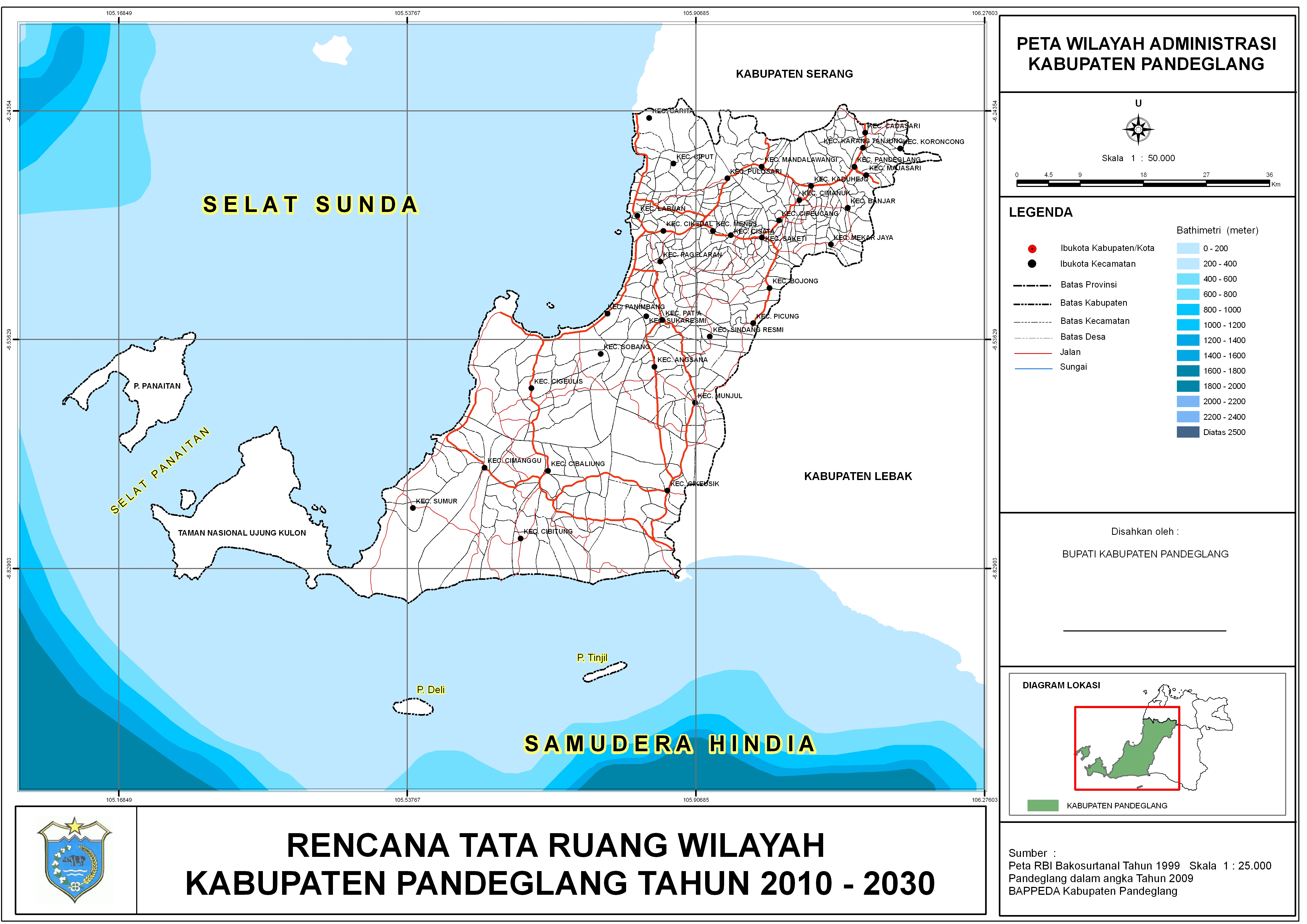 Profil Kabupaten Pandeglang Peta Administrasi Kab Pulau Panaitan