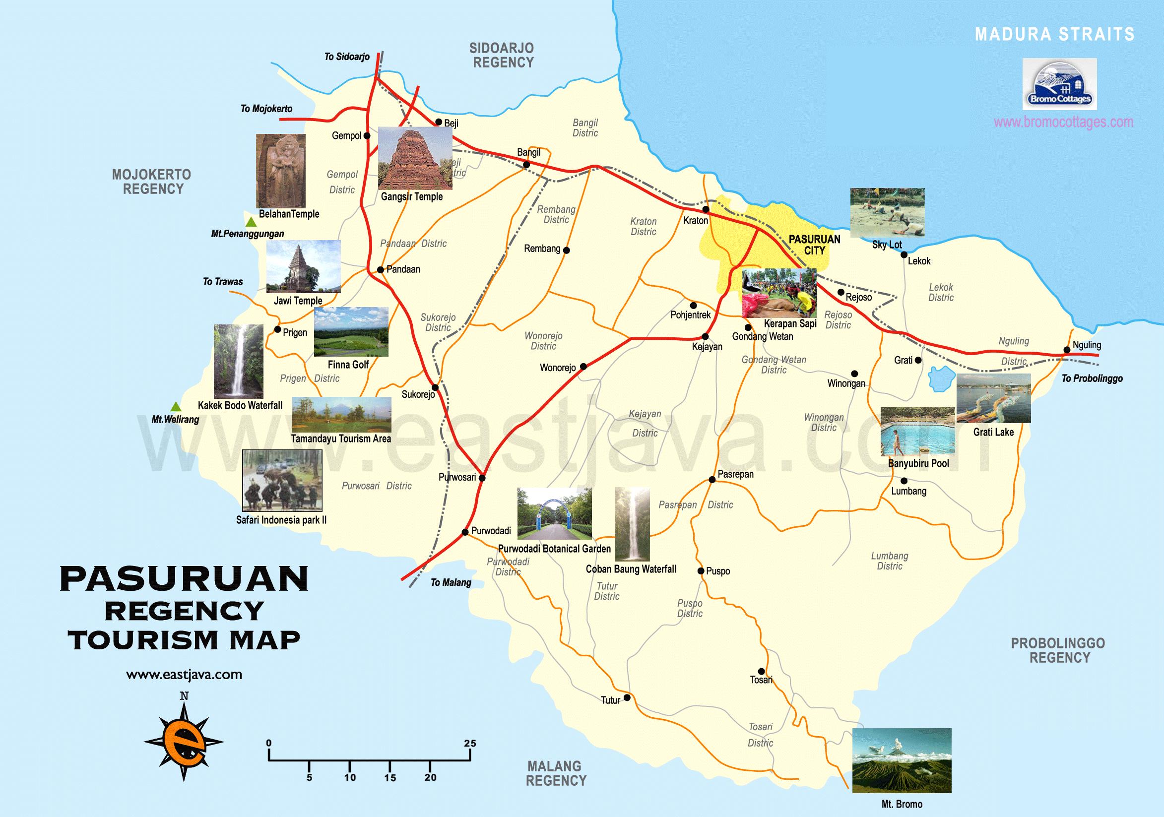 Peta Kabupaten Kota Pasuruan Meliputi Wisata Bukit Flora Kab