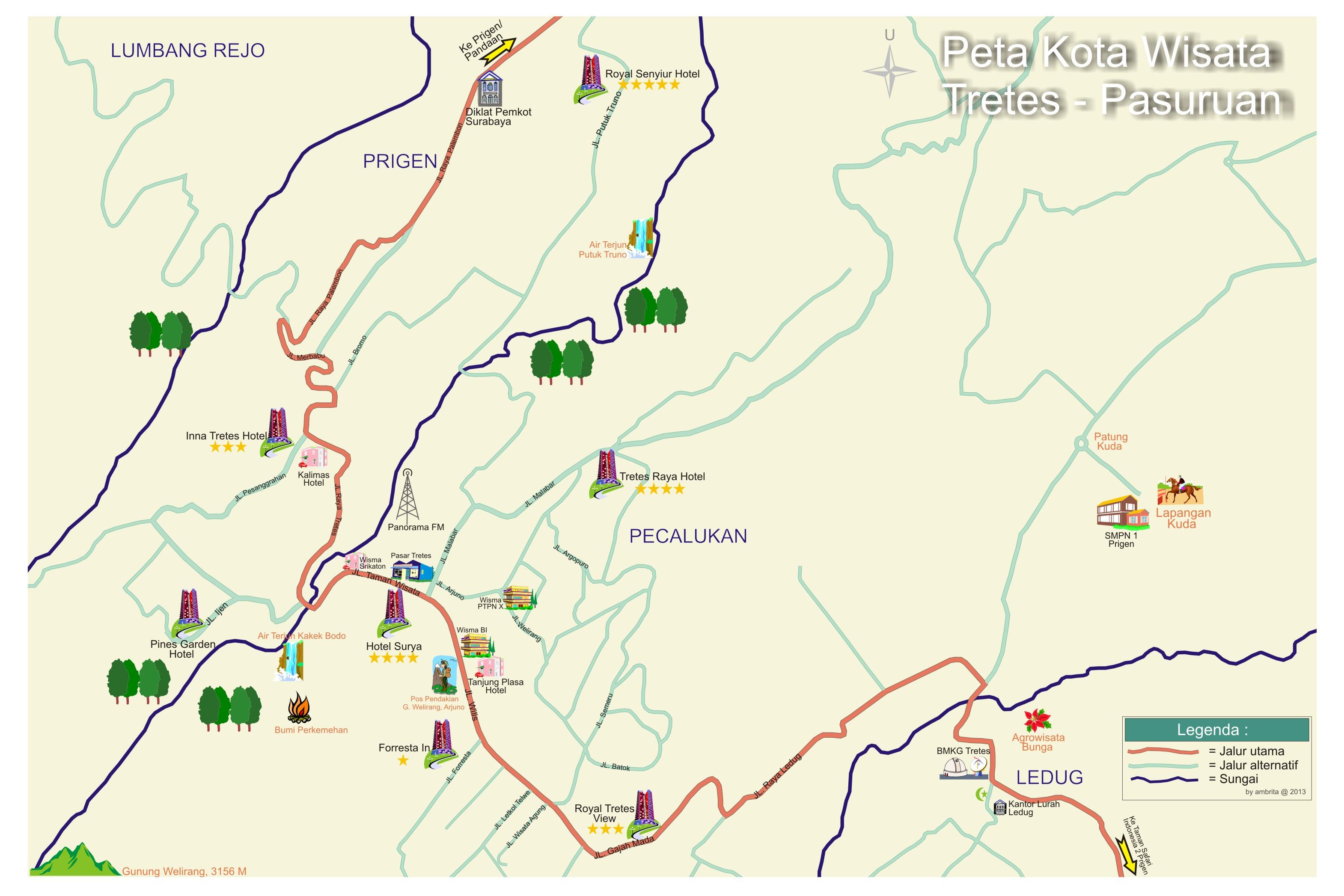 Peta Tretes Pasuruan Prigen Taman Safari Indonesia 2 Kab
