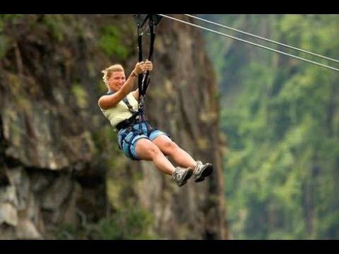 Amazing Longest Flying Fox Asia Tretes Treetop Adventure Park Kab
