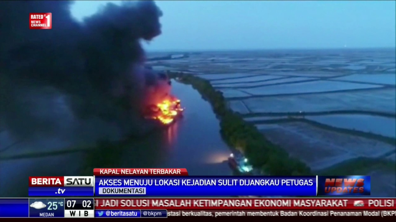 Petugas Kesulitan Padamkan Kebakaran Kapal Pati Youtube Pulau Seprapat Juwana