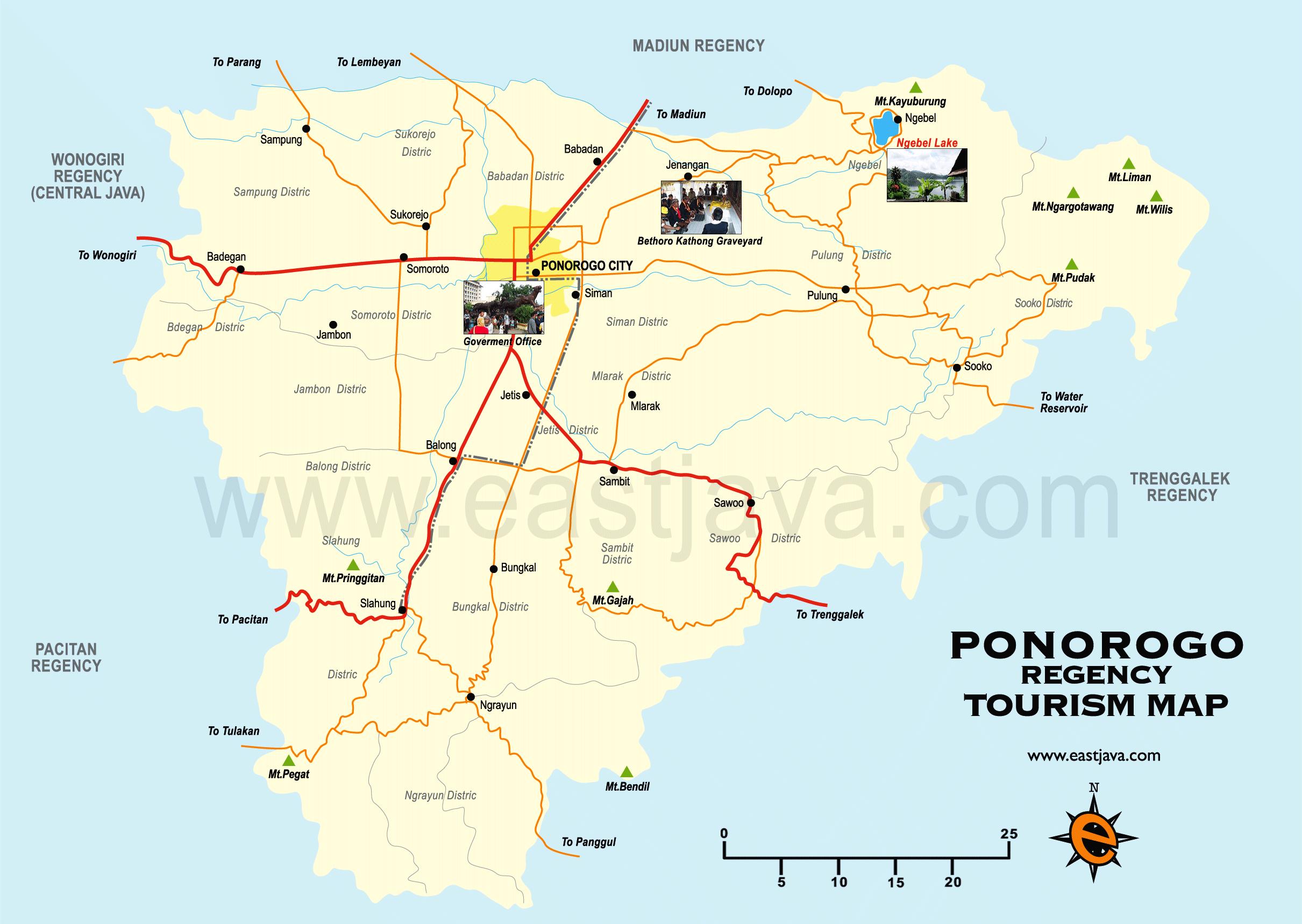 Ponorogo Map Peta Kabupaten Google Taman Wisata Ngembag Kab