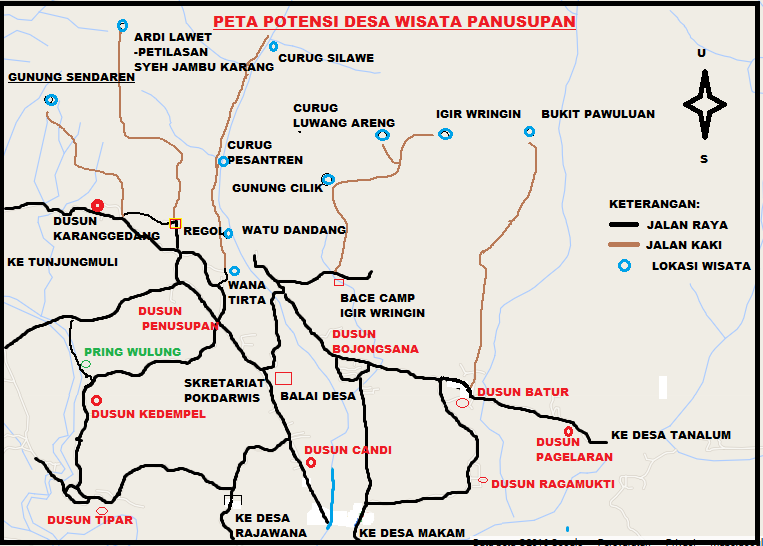 Peta Destinasi Wisata Desa Panusupan Kecamatan Rembang 2 Kabupaten Purbalingga