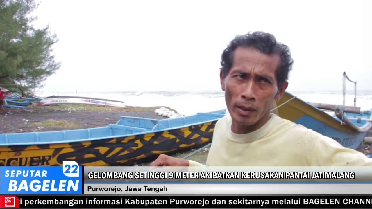 Gelombang Setinggi 9 Meter Akibatkan Kerusakan Pantai Jatimalang Kab Purworejo