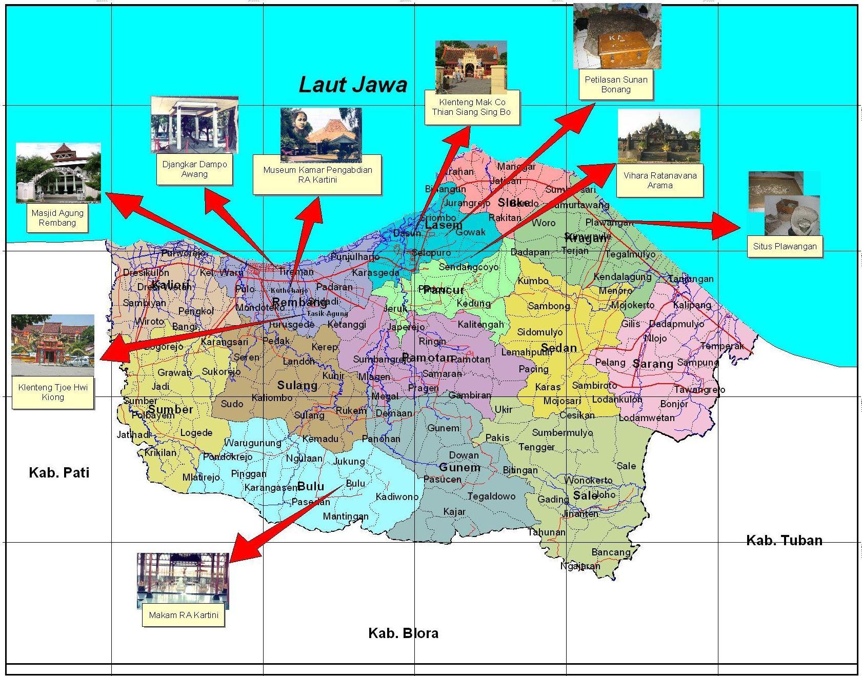 Peta Rembang Berita Wisata Kabupaten Pantai Caruban Lasem Kab