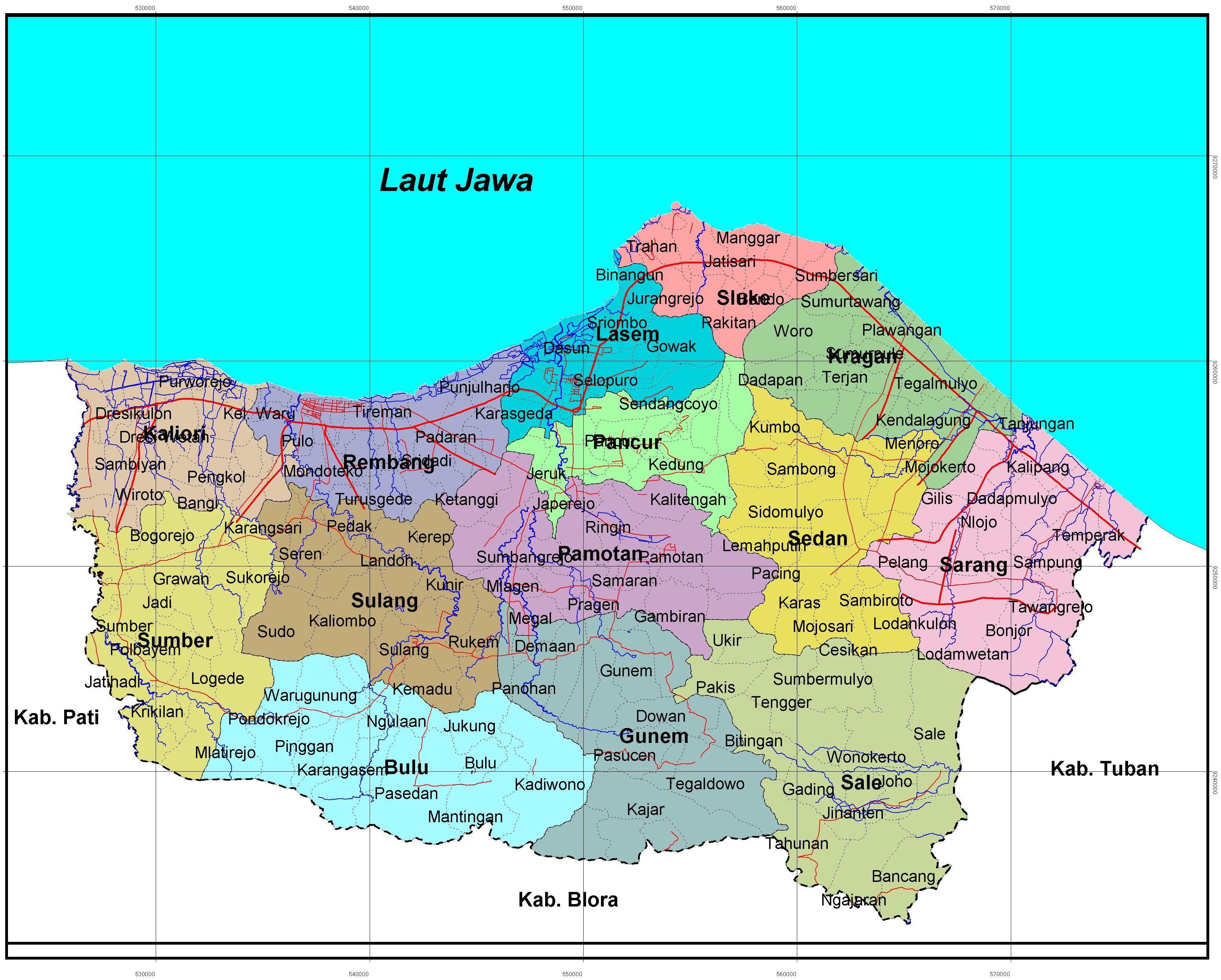 Peta Rembang Berita Administrasi Situs Sejarah Kota Kab