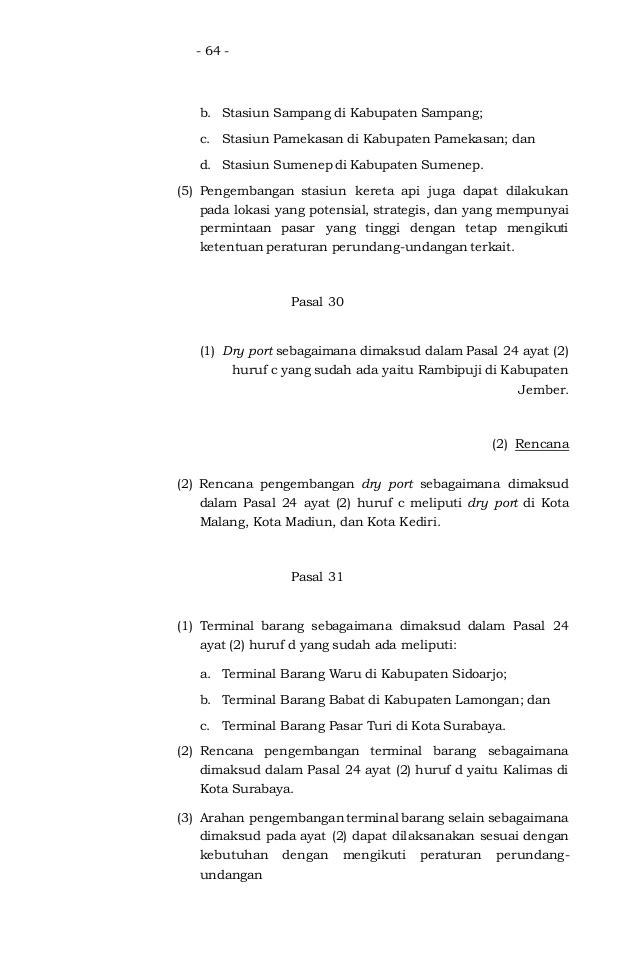 Rencana Tata Ruang Wilayah Provinsi Stasiun Kereta Api Kota Sampang