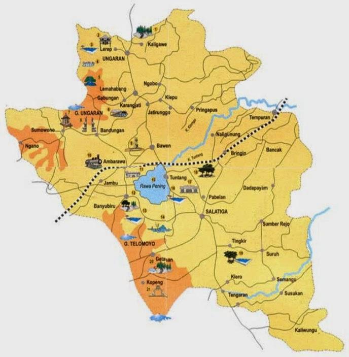 Tempat Wisata Semarang Sekitarnya Peta Kabupaten Gereja Blenduk Kab