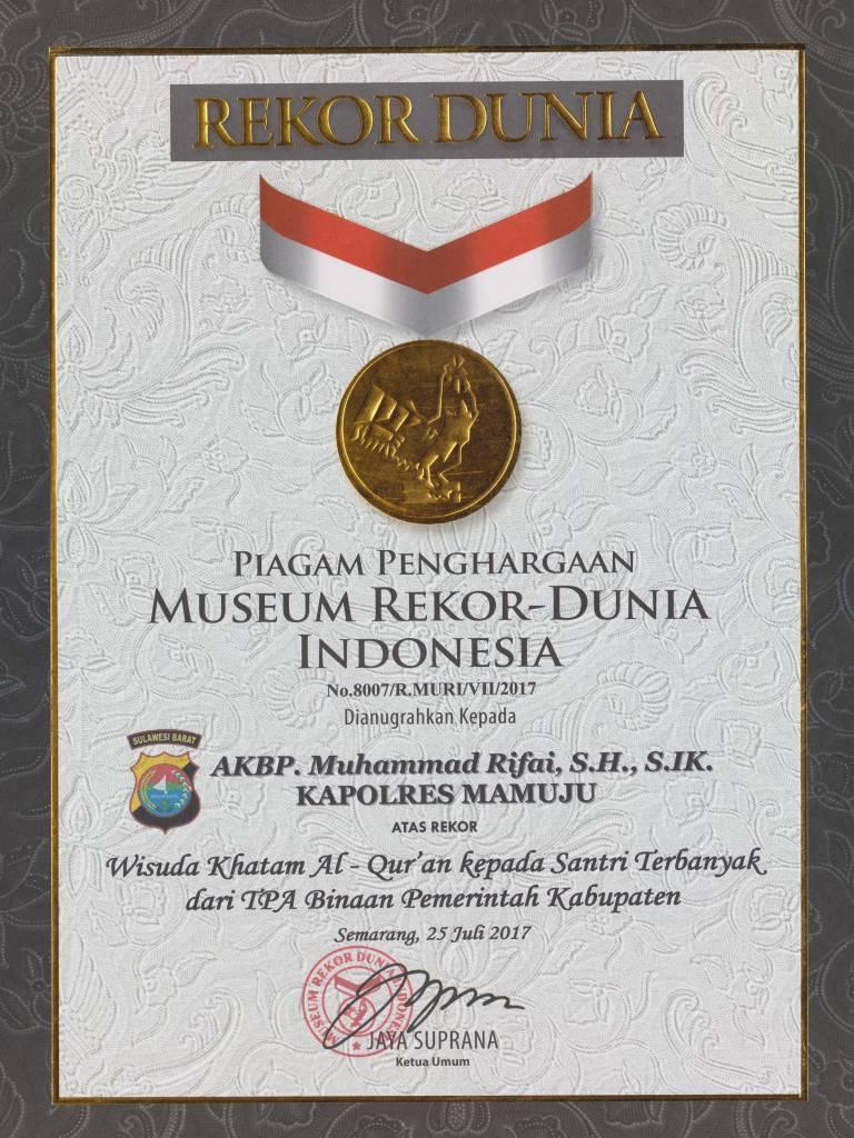 Polres Mamuju Raih 2 Rekor Muri Penghargaan Kapolri Tribratanews Polri