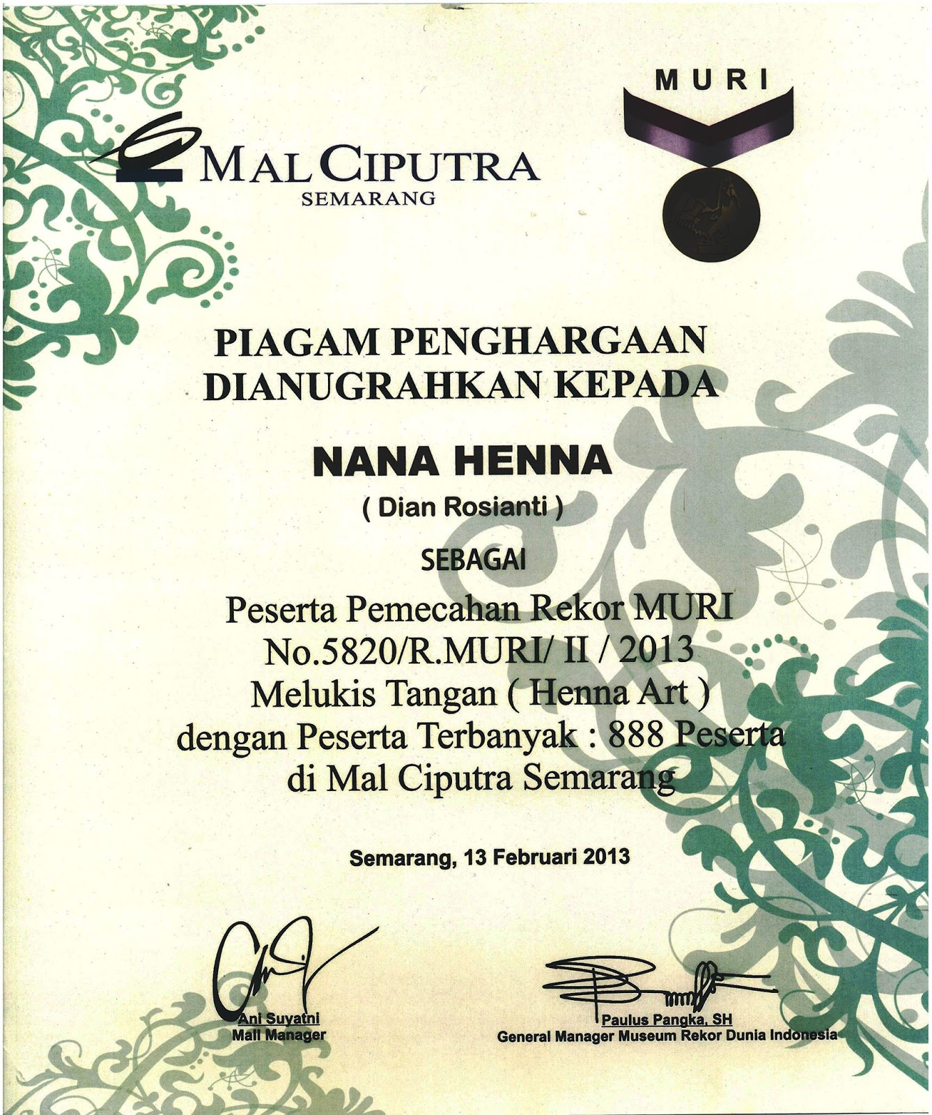 Nana Henna Ungaran Semarang 2017 Dian Rosianti Museum Rekor Dunia