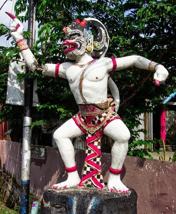 Indonesia Hindu Candi Temples Pura Statue Located Main Road Entrance