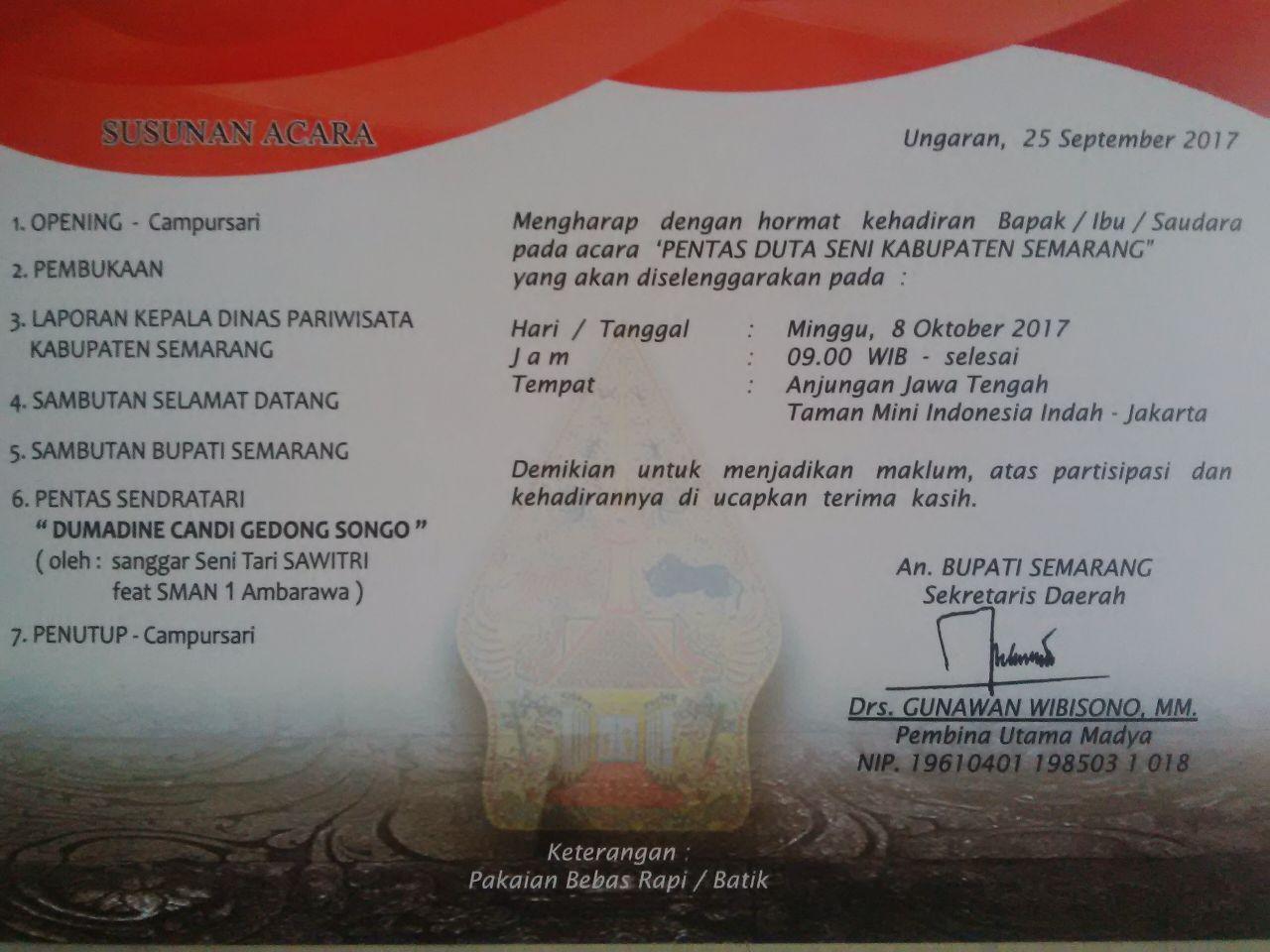 Pentas Duta Seni Kab Semarang Tourism Information Center Sanggar Gedong