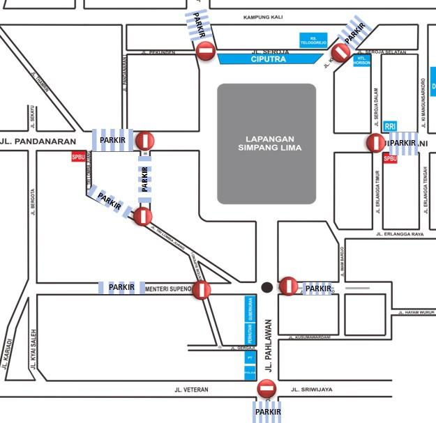 Kawasan Simpang Lima Semarang Ditutup Pukul 18 00 Wib Kab