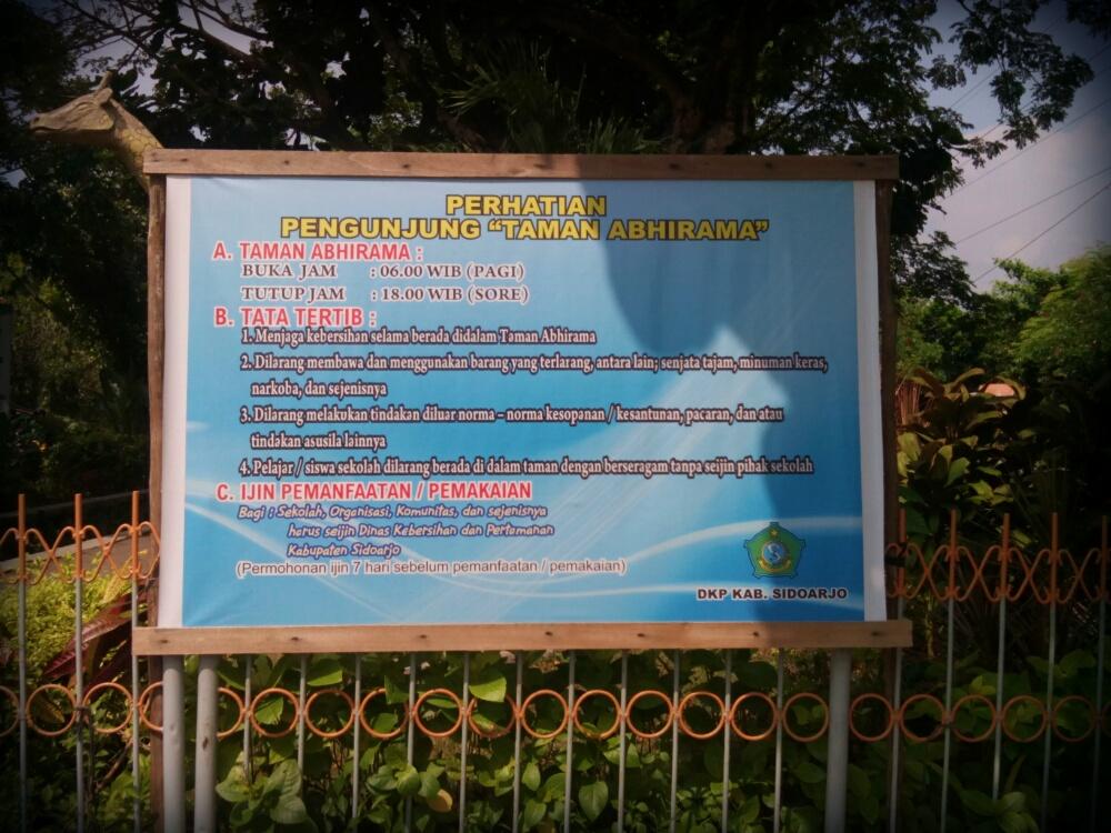 Taman Abhirama Sidoarjo Sinichinet Tata Tertib Kab