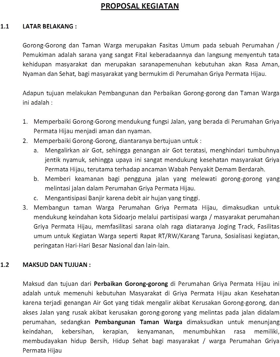 Griya Permata Hijau Sidoarjo Bersih Aman Asri Kelompok Swadaya Proposal