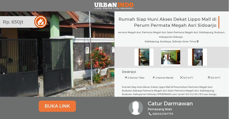 Rumah Dijual Siap Huni Akses Dekat Lippo Mall Perum Permata