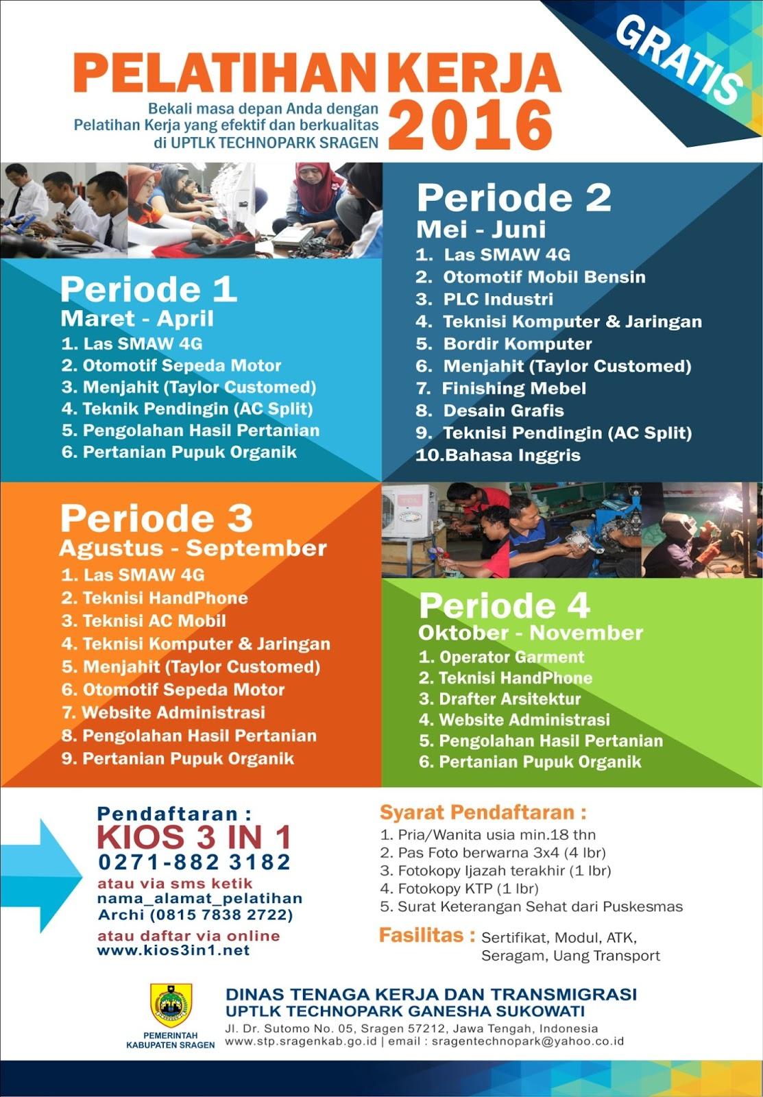 Kecamatan Miri Pelatihan Kerja Gratis Disnakertrans Sragen 05 02 2016