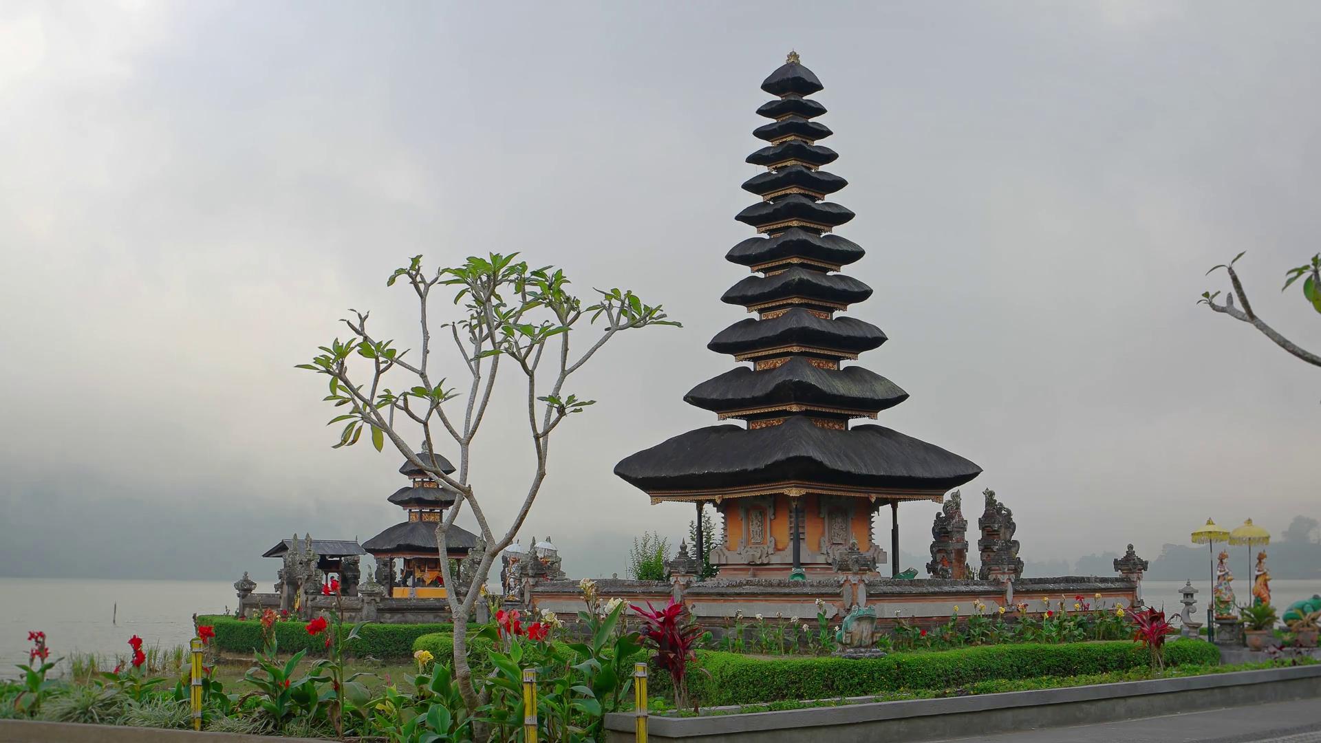 Exotic Tiered Pagodas Pura Ulun Danu Bratan Temple Bali Stock