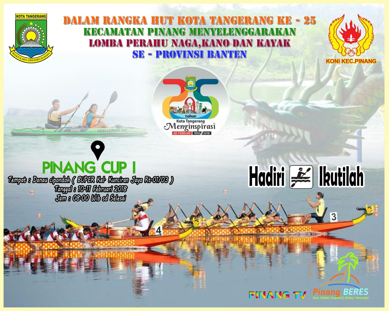 Kecamatan Pinang Gelar Lomba Dayung Cipondoh Palapa News Banner 160x600