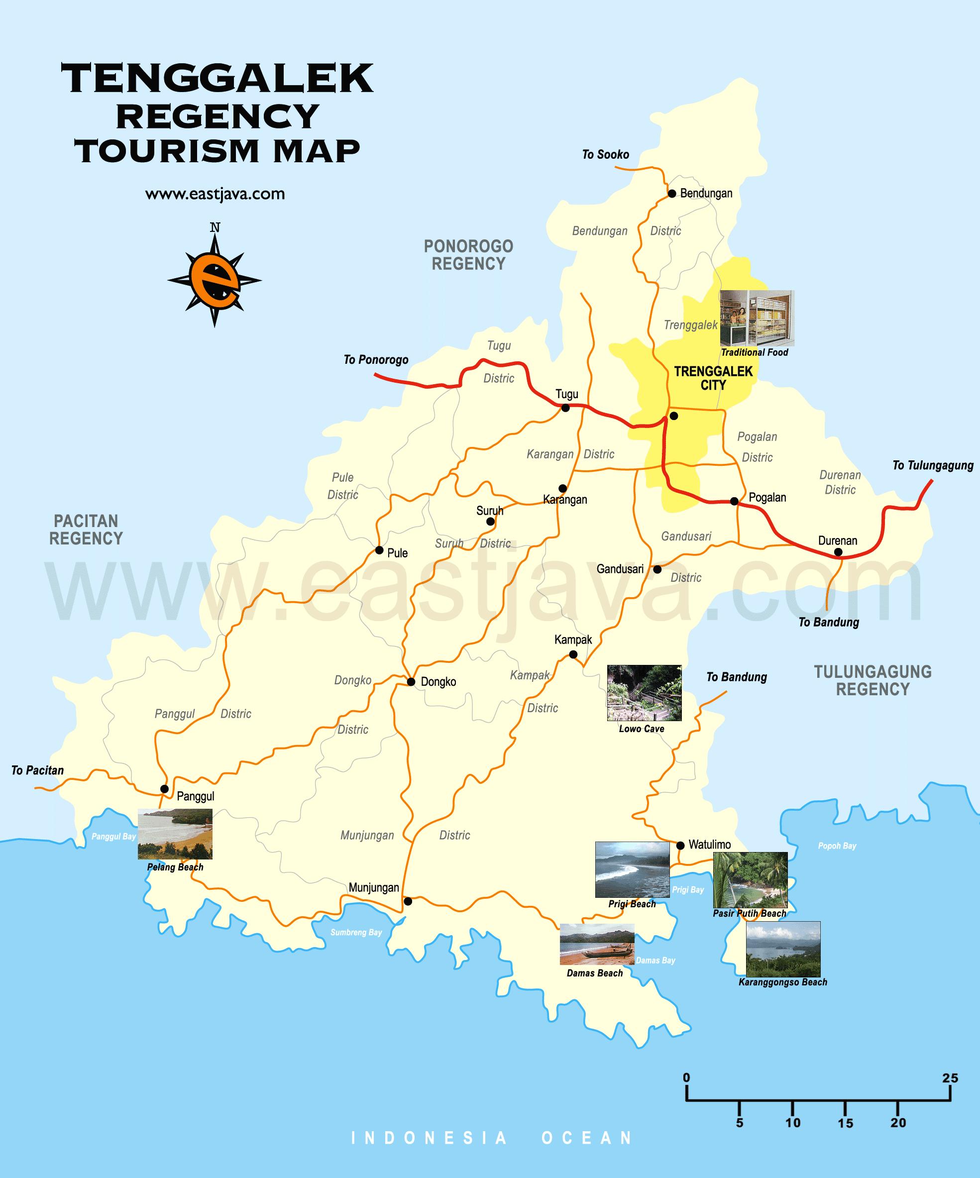 Trenggalek Map Peta Kabupaten Wisata Pantai Konang Kab