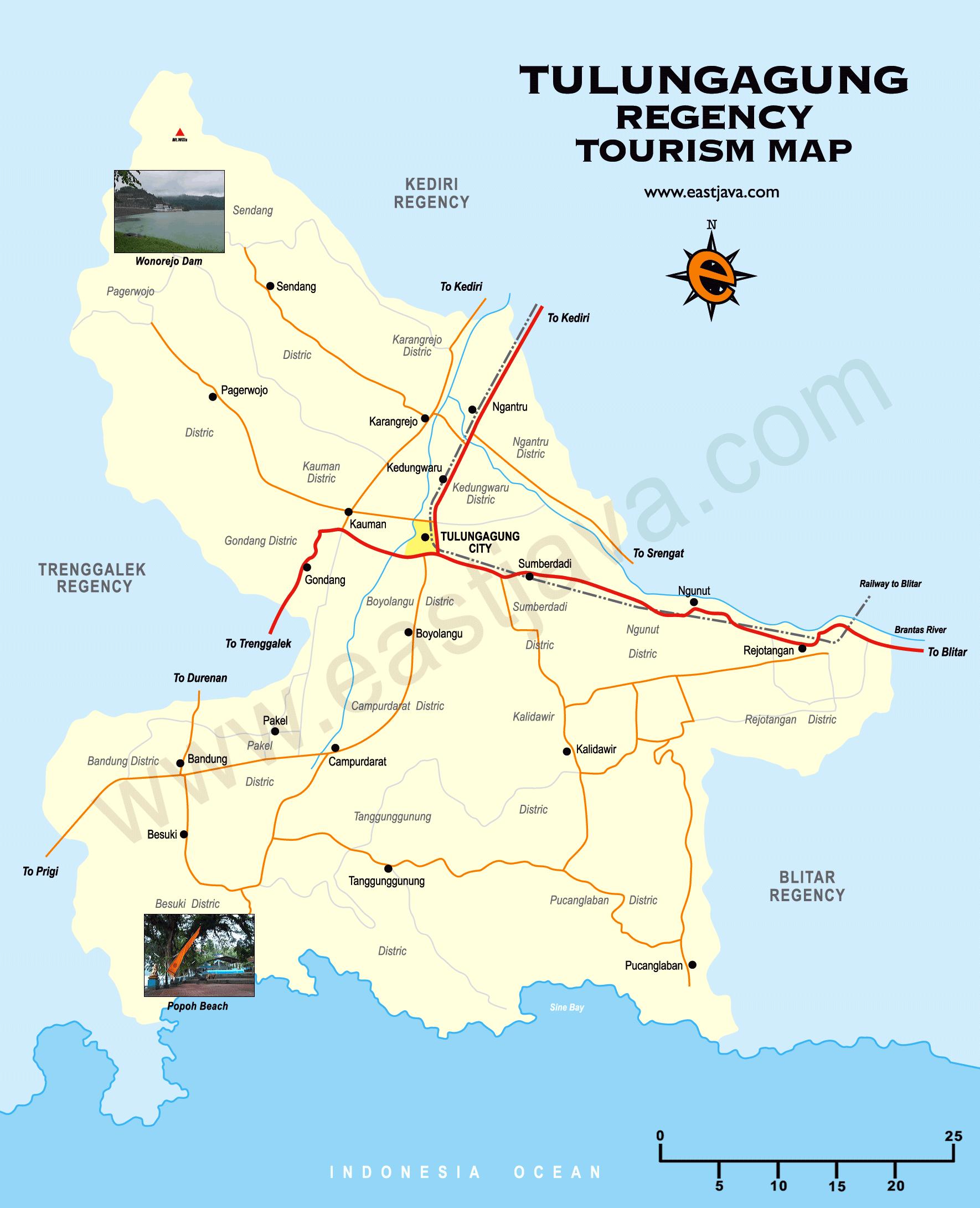 Peta Kabupaten Kota Tulungagung Wisata Google Map Candi Penampihan Kab