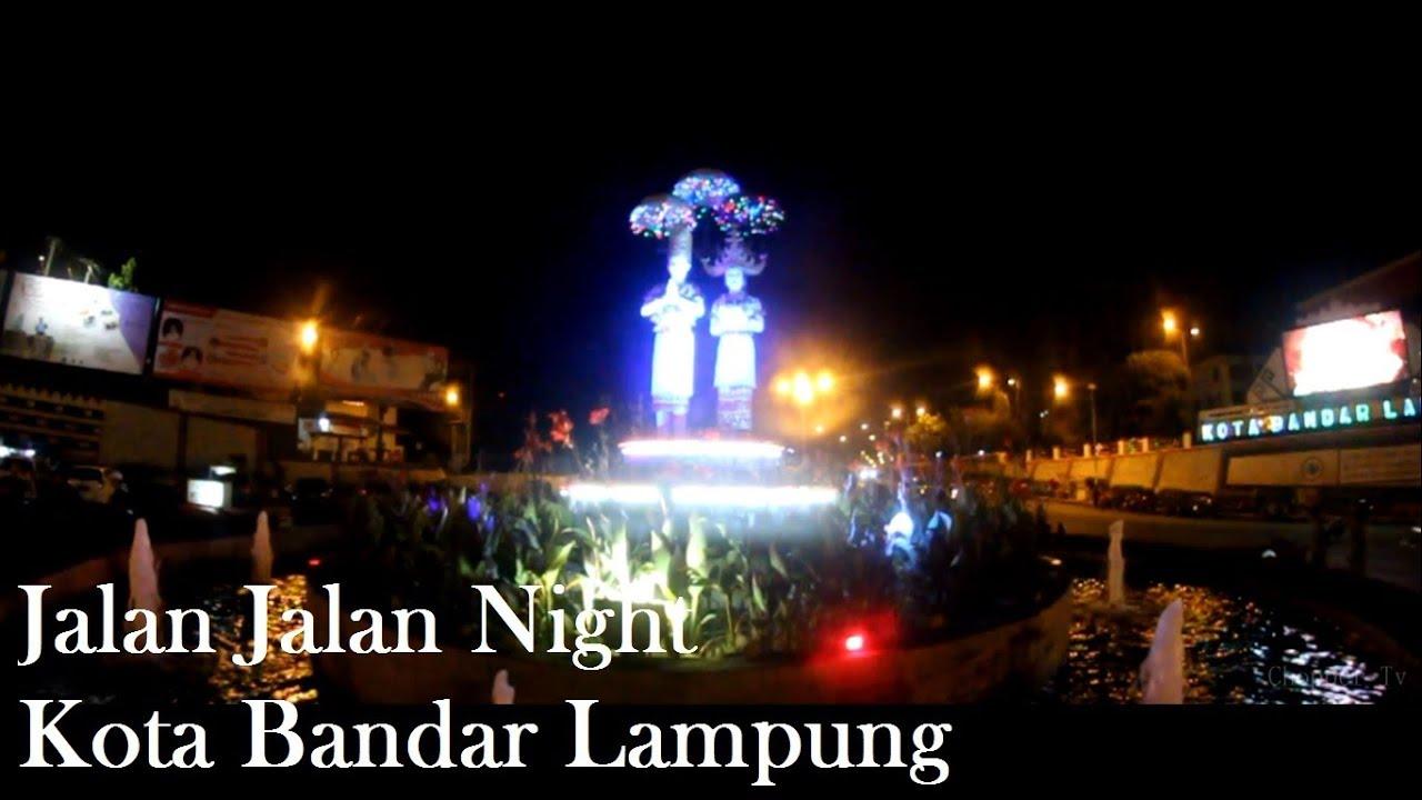 Jalan Night Tugu Pengantin Masjid Al Furqon Bandar Lampung Agung