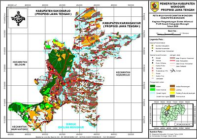 Wonogiri Wikipedia Bahasa Indonesia Ensiklopedia Bebas Peta Kecamatan Museum Wayang