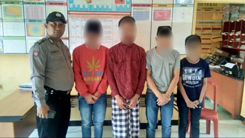 Polsek Kertek Wonosobo Amankan Empat Remaja Pencuri Snack Pasar Tribrata