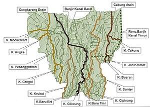 Kanal Banjir Jakarta Wikipedia Bahasa Indonesia Ensiklopedia Bebas Peta Tata