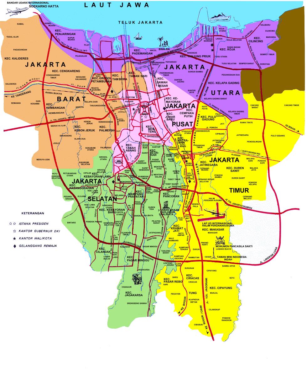 9 Peta Jakarta Hd Lengkap Nama Kecamatan Tempat Wisata Musium