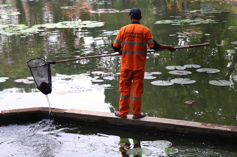 Taman Lembang Ditutup Petugas Kebersihan Mengambil Sampah Jakarta Kota Administrasi