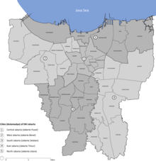 Jakarta Wikipedia Map Municipalities Kota Administrasi Province City Divided Districts
