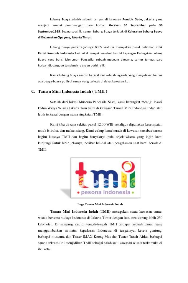 Laporan Karya Wisata Jakarta 12 Taman Mini Indonesia Indah Tmii
