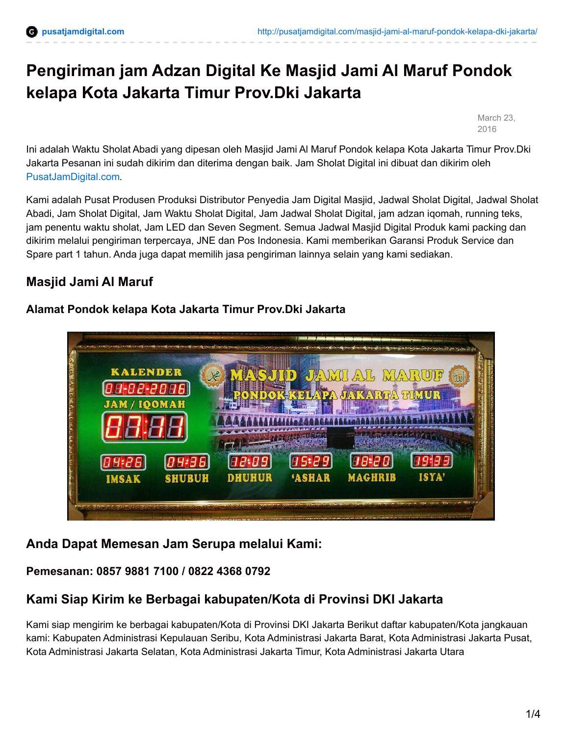 Pengiriman Jam Adzan Digital Masjid Jami Al Maruf Pondok Kelapa