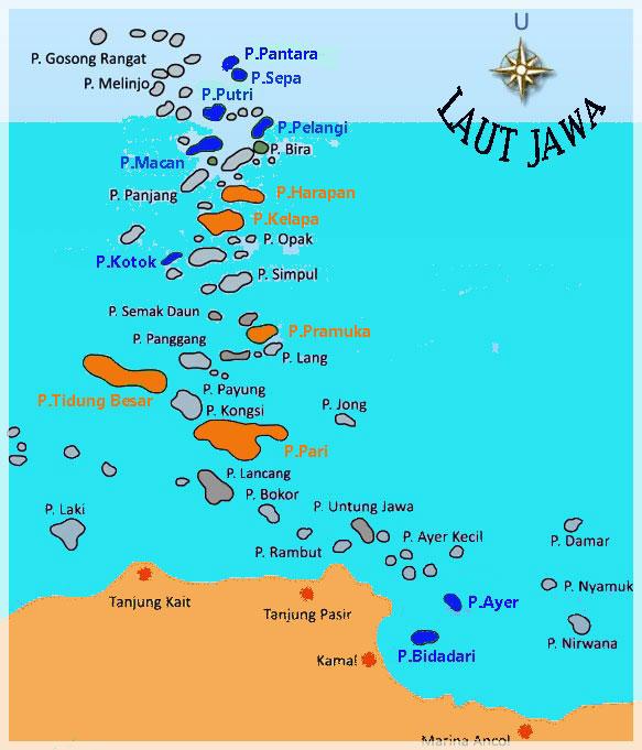 Peta Kota Kabupaten Administrasi Kepulauan Seribu Jakarta Utara