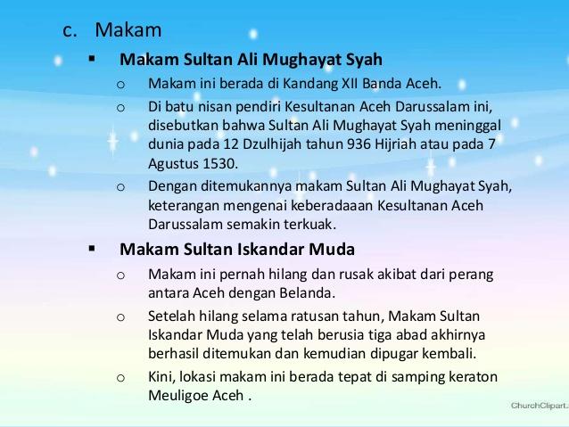 Sejarah Kesultanan Aceh Darussalam Keraton Meuligue 24 Makam Sultan Ali